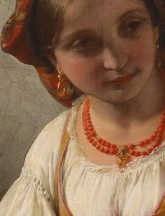 Young Italian Girl (detail), by Friedrich von Amerling (Austro-Hungarian, 1803-1887).