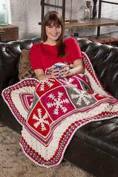 Red Heart Super Saver Snowflake Throw #crochet #pattern