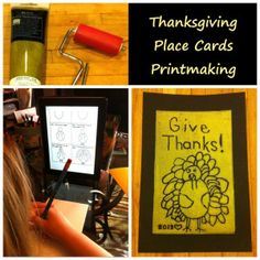 Printmaking for kids: Thanksgiving place cards with Eye Can Art.  Great art kits for kids!
