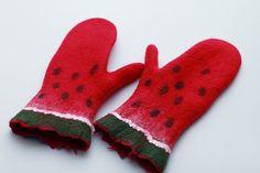 Watermelon++Felted+wool+mittens++Handmade+to+order+by+aureliaLT,+$39.00