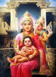 Maa Durga  Maa Amba With Baby Ganapati and Kartikeya