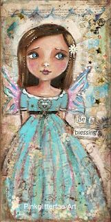 Another kind of  Angel, blue too - mixed media tag