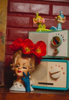 Vintage Head Vase❤ and some old plastic radios and elf shelf sitters too :)