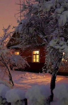 A warm light glowing through a window on a cold night is just about the best thi… – Winterbilder Winter Szenen, Winter Magic, Winter Time, Winter Christmas, Snow Scenes, Winter Beauty, Winter Pictures, Winter Landscape, Belle Photo