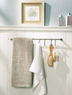 31 Creative Storage Idea For A Small Bathroom Organization | Shelterness  ?towel bar under window? ...use ikea swivel bars?