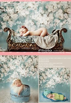 5x7ft Customized blue floral photography backdrops vinyl digital cloth for new born baby photo studio background S-102