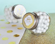 Personalized Metallic Foil Baby Candy Jars - FAVOR IDEA:  Select the prince design and your text for a beautiful gold look, fill it with royal blue colored candy to fit your Royal Prince Baby Shower Theme