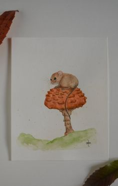 Mouse On A Mushroom Original Watercolor Mouse Mouse | Etsy
