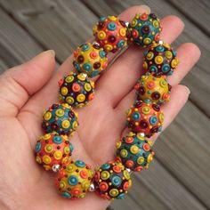 Handmade lampwork beads focals autumn colors orange by beadaddicts,