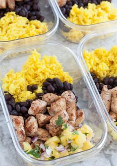 Meal prep bowls - Jerk Chicken Meal Prep Bowls for lunch or dinner throughout the week Jerk spiced chicken, black beans, pineapple salsa and yellow rice Lunch Meal Prep, Meal Prep Bowls, Easy Meal Prep, Healthy Meal Prep, Healthy Snacks, Easy Meals, Healthy Eating, Clean Eating, Healthy Recipes
