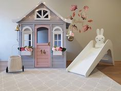 This adorable space by is just divine! Jupiduu slides are not far away - preorder yours now! Hope Friday is a good one for you all! Kids Cubby Houses, Kids Cubbies, Play Houses, Kids Play Spaces, Wendy House, Diy Playhouse, Toy Rooms, Backyard For Kids, Kids Playing
