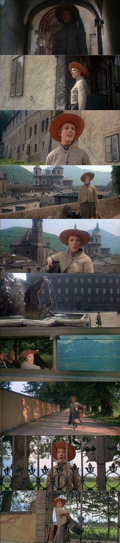 Julie Andrews as Maria in the Sound of Music singing I Have Confidence when she leaves the convent and travels toward the Von Trapp home. 1965