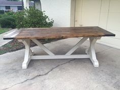 7ft X Farmhouse Table by DanowitDesigns on Etsy