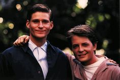 Crispin Glover as George McFly and Michael J. Fox as Marty McFly. Future Love, Back To The Future, Science Fiction, Image Film, Michael J Fox, Bttf, Culture Pop, Marty Mcfly, Happy Fathers Day