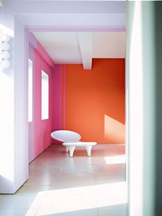 Dulux Collective Passions SS13 - Hallway painted in Orange Fizz, Rock Candy 2 and Lilac Spring 3. Featured on Stylist's Own by Joanna Thornhill (www.stylistsownblog.wordpress.com)