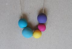Bright rainbow polymer clay necklace