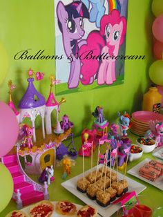 My Little Pony Party by Balloons & Buttercream, beautiful hot pink and lime green colour scheme <3