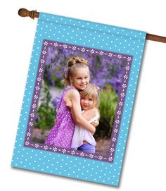 """Springtime Blue - Photo House Flag - 28"""" x 40"""" Flag stand sold separately Proudly Printed in the USA Vibrant colors printed on a poly/cotton outdoor quality fabric. Digitally printed on both sides of the fabric. Two fabric options given at checkout. Ships in 5 days or less!"""