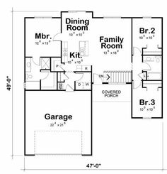 Craftsman Style House Plan - 3 Beds 2 Baths 1265 Sq/Ft Plan #20-2182 Floor Plan - Main Floor Plan - Houseplans.com