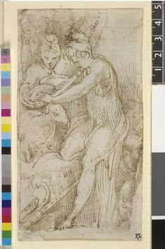Parmigianino A group of a shepherd playing a wind instrument, a shepherdess and a goat Pen and brown ink Verso: Drapery sketch or architecture Red chalk Recto Verso