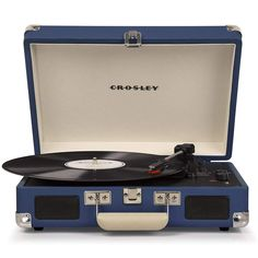 Shop Crosley Cruiser Deluxe Briefcase Style Three Speed Portable Bluetooth Vinyl Turntable with Built-In Stereo Speakers - Blue. Free delivery and returns on eligible orders. Built In Speakers, Stereo Speakers, Best Portable Record Player, Elvis Presley, Bluetooth, Unique Gifts For Dad, Powered Speakers, Belt Drive, Best Buy Store