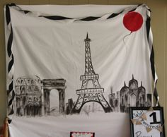 french theme/ red balloon theme first birthday: paris mural