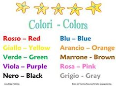 Colors Chart, free printable in Italian and English.  Use it for your Italian language class or to decorate your child's bedroom.