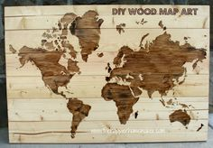 Create a custom wood stained world map with some wood scraps and patience!