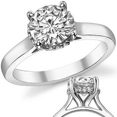 Torn between this classic setting and the foral design...  Round Moissanite Pave Basket Engagement Ring