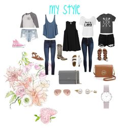 """My style"" by brookelynnwelty ❤ liked on Polyvore featuring American Eagle Outfitters, Converse, DL1961 Premium Denim, RVCA, Lucky Brand, TravelSmith, Boohoo, Billabong, DKNY and Tory Burch"