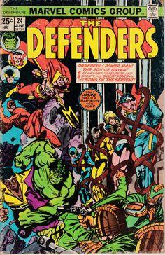 The Defenders 24 VF 7 5 Marvel 1975 Hulk Dr Strange Nighthawk Daredevil Cage Old Comic Books, Marvel Comic Books, Comic Book Covers, Marvel Dc Comics, Marvel Characters, Marvel Heroes, Old Comics, Vintage Comics, Defenders Comics