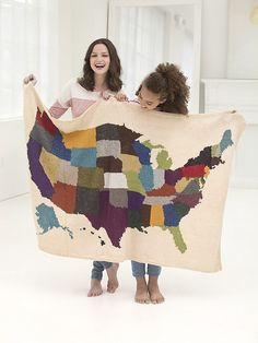 Free knitting pattern for USA Map Afghan - Intarsia map of the United States from Lion Brand with different colors for each state. 45 x 66 in. (114.5 x 167.5 cm) 4th