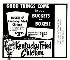 Bucket O' chicken 1967 - under 4 dollars Kentucky Chicken, Kentucky Fried, Fast Food Restaurant, Menu Restaurant, Chicken Gravy, Fried Chicken, Vintage Advertisements, Vintage Ads, Kfc History