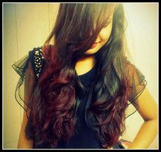 Black and Red Ombre Hair #Hair