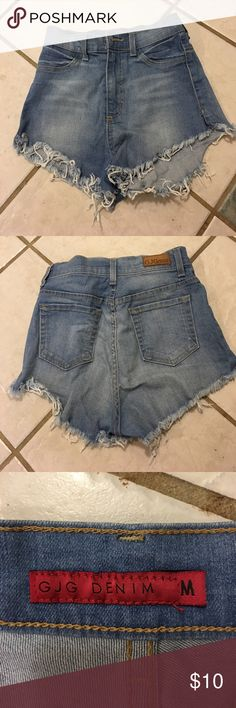 Denim shorts Denim shorts. Size medium. Comes from a smoke free home. Worn twice. Denim has some stretch in it. It's like a juniors size 7. 20% discount when buying bundle G J G Denim Shorts Jean Shorts