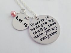 Love Made You My Daughter* Blended Family Gift* Blended Family Wedding* Step Daughter Wedding Gift* Step Daughter Necklace* Personalized* - pinned by pin4etsy.com