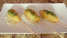 Graham Elliot puts a classy spin on a fried favorite: a Lobster Corn Dog. Seafood Recipes, Appetizer Recipes, Appetizers, Fish Recipes, Corn Dogs, Fried Lobster Tail, Corndog Recipe, Nacho Bar