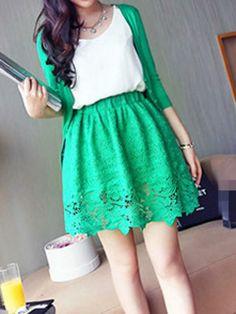 Deep Green High Waist Skater Skirt With Lace Crochet | Choies
