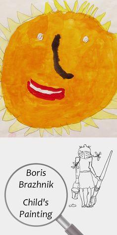 "Boris Brazhnik (4 years) | Child's Painting | Printable | Design | Interior | Instant Download | Digital Image | ""Orange Sun"" (fragment) Paper Watercolor 20x30cm | Child's Art Drawing Yellow Summer | №B-001 Painting For Kids, Art For Kids, Sharp Prints, Printable Designs, Digital Image, Art Drawings, Orange, Yellow, 4 Years"