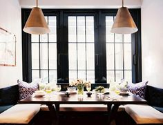 Another lovely banquette.  Love those lights