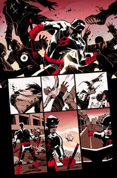 heres a colored unlettered preview of Ron Garney's art from Daredevil coming out in December with Charles Soule