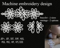 Machine embroidery designs.  tatting embroidery design  frivolite  bracelet earrings Design.  FSL Embroidery. Embroidery Instant Download.