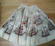 1950s Handmade Sailing Ships Novelty Print Skirt