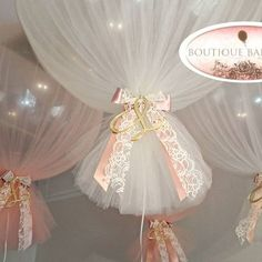 No words.... Ivory and peach tulle covered giant balloons with gold acrylic custom letter with satin and lace #tulleballoons #madeinmelbourne #giantballoons #originaldesign #lovemyjob #christeningballoons