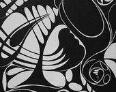 Painting - Black and White Swirl Design - original print on canvas