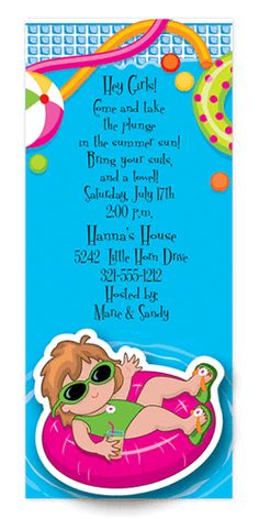 Kids love the water! You'll love our kid's pool party invitations, swim party invitations and beach birthday invitations. Birthday Invitation Card Template, Surprise Party Invitations, Birthday Party Invitation Wording, Invitation Templates, Invitation Ideas, Invites, Birthday Template, Swim Birthday Parties, Pool Party Kids
