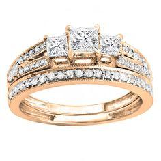 18k Gold 1ct TDW Princess and Round Cut 3 Stone White Diamond Bridal Ring Set