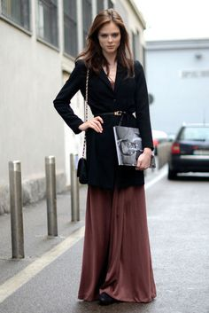 Belted cardigan over a long skirt. Great way to bring a long skirt through the winter.