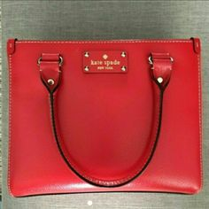 """Kate Spade Wellesley Quinn Tote Red/Poppy colored Kate Spade Wellesley Quinn Tote bag with gold tone hardware. Comes with detachable long shoulder strap, dustbag, and care card. Used once, just a little small for my daily bag. Measurements: L 10"""" H 8.25"""" W 4.5"""" kate spade Bags Totes"""