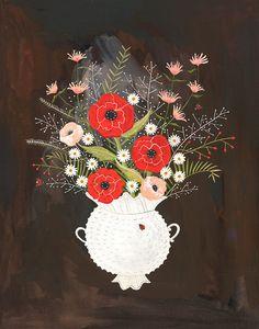 February's Flowers -- Archival Art Print. $30.00, via Etsy.